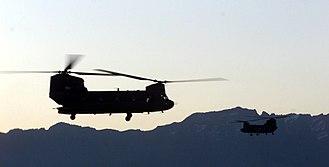 Operation Anaconda - Ch-47 Chinook helicopters take off in the early morning in support of Operation Anaconda, March 2002.