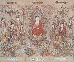 The Sakyamuni Buddha, by Song painter Zhang Shengwen, c. AD 1173–1176. Although Buddhism was in decline and under attack by Neo-Confucian critics in the Song era, it nonetheless remained one of the major religious ideologies in China.