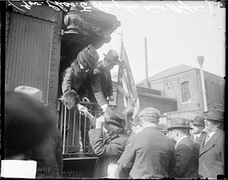 Whistle stop train tour - Image: Charles Hughes whistle stop 1916