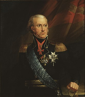 Charles XIII of Sweden - Charles wearing the insignia of the Order of Charles XIII (in red)