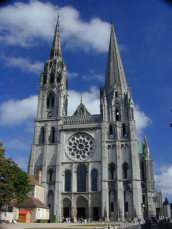 The government of a bishop is typically symbolized by a cathedral church, such as the bishops's see at Chartres Cathedral. Chartres 1.jpg