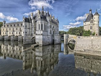 Château de Chenonceau - View from the northeast showing the chapel and the library