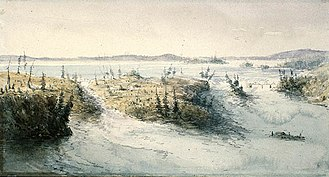 Bytown - The Chaudière Falls and Chaudière Island in 1838 before damming.