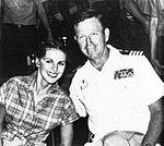 Cheryll Prewitt, Miss America 1980, with Captain Inman Carmichael on USS Midway (CV-41) in July 1980.jpg