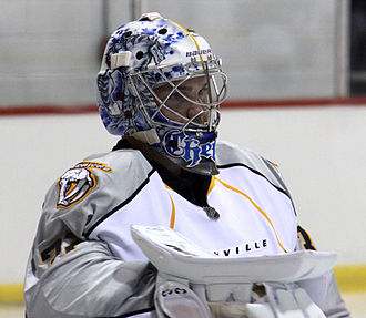 Chet Pickard - Pickard playing for the Nashville Predators in a rookie game vs. the Florida Panthers