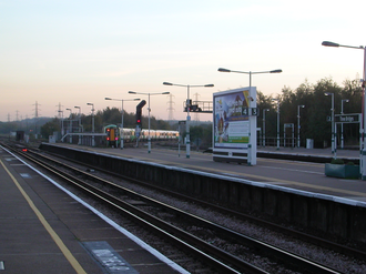 Three Bridges railway station - Southbound Southern Class 377 departing Platform 3 in November 2006
