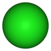 Ball-and-stick model of the chloride anion