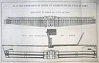 Choquet De Lindu P9 - Plan des fondemens du bagne et l'élévation du côté du port.jpg