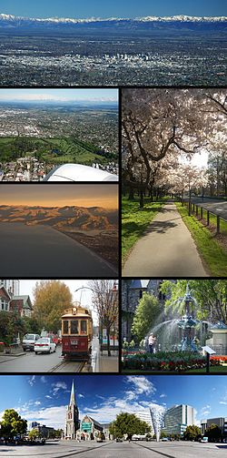ঘড়ির কাটার দিকে শীর্ষে: Christchurch skyline with Southern Alps in background, aerial view of Hagley Park, cherry blossom trees in Hagley Park, New Brighton and the Port Hills, a Christchurch tram, the Peacock Fountain in the Christchurch Botanic Gardens and ChristChurch Cathedral in Cathedral Square