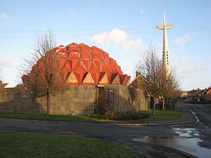 """Bowburn - The Church of Christ the King, or """"Pineapple Church"""", demolished in 2007 and rebuilt as a more simple building in 2008. The cross remained until Autumn 2009."""