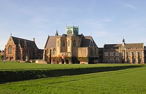 Clifton College - Clifton College Upper School seen from the Close. Left – the Dining Hall, centre – the Chapel, right – the science block