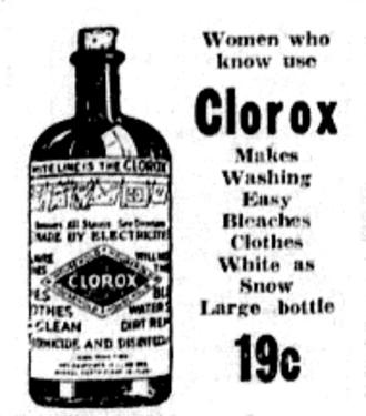 Clorox - Bottle of Clorox bleach from a 1922 newspaper ad.