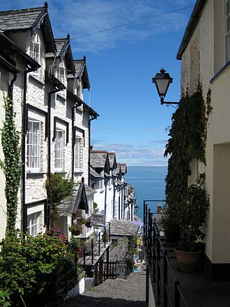 Clovelly - View looking down part of the 400-foot (120-metre) descent from halfway down the main street towards the harbour and Bideford Bay