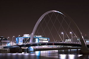 "Glasgow city centre - Clyde Arc, also known as ""Squinty Bridge""."