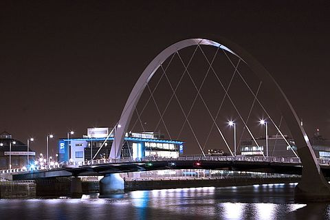 "The Clyde Arc, also known locally as the ""Squinty Bridge"""