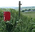 Cock-a-Roosting postbox and footpath sign, Earlswood - geograph.org.uk - 2506830.jpg