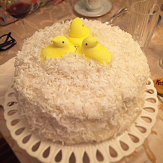 Peeps - A coconut cake garnished with Peeps candy