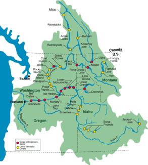 Einzugsgebiet des Columbia Rivers mit den wichtigsten Zuflüssen und Staudämmen.