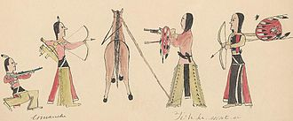 Leggings - Comanche-Cheyenne wearing leggings, Ledger Drawing