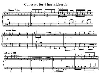 Keyboard concertos by Johann Sebastian Bach - Incipits of the three movements of Bach's concerto for four harpsichords, BWV 1065