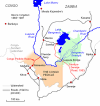 Map showing divide with borders of the country with Congo Pedicle
