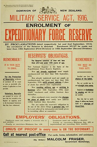 Compulsory military training in New Zealand - Conscription poster