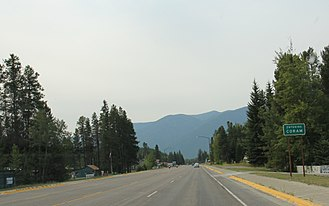 Coram, Montana - Looking westerly at the sign for Coram on U.S. Route 2
