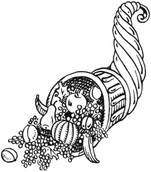 b/w line drawing of a cornucopia