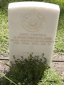 Corporal A Westmoreland gravestone in the Wagga Wagga War Cemetery.jpg