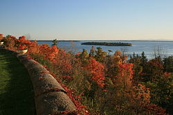 View of Crab Island from Plattsburgh, New York.