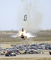 Capt. Christopher Stricklin ejected from his USAF Thunderbird aircraft at an airshow at Mountain Home Air Force Base, Idaho, on September 14, 2003. While diving, Stricklin realized he could not pull up in time and ejected after aiming the plane at a safe place. He was not injured.