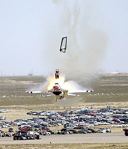 Capt. Christopher Stricklin ejects from his F-16 aircraft with an ACES II ejection seat on 14 September 2003 at Mountain Home AFB, Idaho. Stricklin was not injured. Crash.arp.600pix.jpg