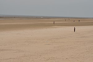 Crosby Beach - View out to sea, with the Iron Men in view