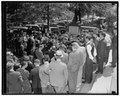 Crowd greets Czech Minister as he leaves conference with Secretary Hull. Washington, D.C., Sept. 27. War days of 1917 were recalled today as a crowd gathered before the entrance to the State LCCN2016874054.tif