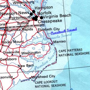Currituck Sound - Map of northeastern  North Carolina  and southeastern Virginia showing Currituck Sound.