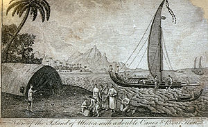 D. Lizars; R. Morison & Son, View of the Island of Ulietea with a double canoe & Boat House.jpg