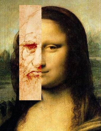 Lillian Schwartz's Comparison of Leonardo's self portrait and the Mona Lisa based on Schwartz's Mona Leo. An example of a collage of digitally manipulated photographs DaVinci MonaLisa1b.jpg