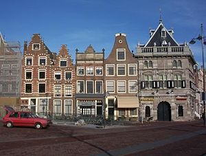 Damstraat, Haarlem - Northeast side of Damstraat with the Waag on the right