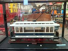 Model of a Darlington Corporation Light Railways tramcar at the National Tramway Museum. Darlington Corporation Light Railways tramcar.jpg