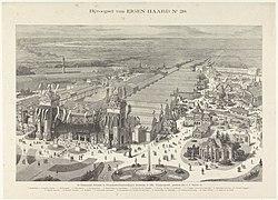 De Internationale Koloniale en Uitvoerhandel-Tentoonstelling te Amsterdam in 1883. Vogelperspectief, geteekend door J.C. Greive Jr. (titel op object), RP-P-OB-89.774.jpg