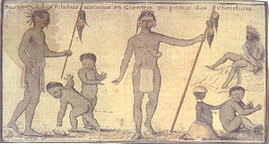 Choctaw - Watercolor painting of Choctaw men, painted for war and holding scalps, and children by Alexandre de Batz, mid–18th century