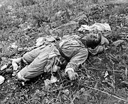 A Chinese soldier killed by U.S. Marines of 1st Marine Division during an attack on Hill 105 in 1951.