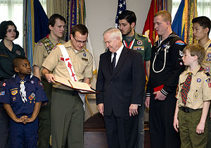 Order of the Arrow - National Chief Brad Lichota presenting the Report to the Nation to Robert Gates in 2010.