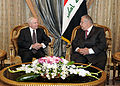 Defense.gov News Photo 110407-F-DQ383-021 - Secretary of Defense Robert M. Gates holds a meeting with Iraqi President Talabani during a trip to Baghdad Iraq on April 7 2011. Gates also met.jpg