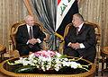 Defense.gov News Photo 110407-F-DQ383-021 - Secretary of Defense Robert M. Gates holds a meeting with Iraqi President Talabani during a trip to Baghdad Iraq on April 7 2011. Gates also met.jpg