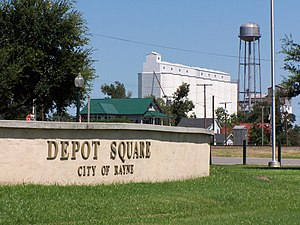 Rayne, Louisiana - Depot Square with one of many Rayne rice mills in the background