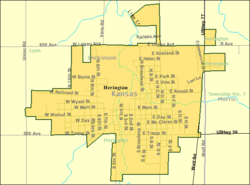 Detailed map of Herington, Kansas
