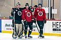 Devan Dubnyk, Charlie Coyle & Eric Staal at Minnesota Wild open practice at Tria Rink in St Paul, MN.jpg