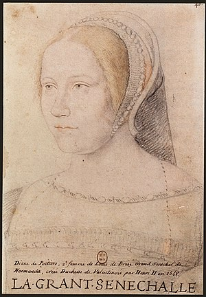 Diane de Poitiers - Anonymous sketch of Diane de Poitiers wearing a French hood, after a 1525 original.