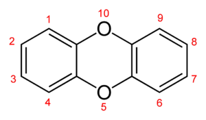 The skeletal formula and substituent numbering scheme of the parent compound dibenzo-1,4-dioxin Dibenzo-p-dioxin-numbering-2D-skeletal.png